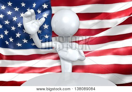 United States Of America U.S. Flag Concept 3D Illustration