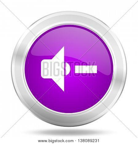 speaker volume round glossy pink silver metallic icon, modern design web element