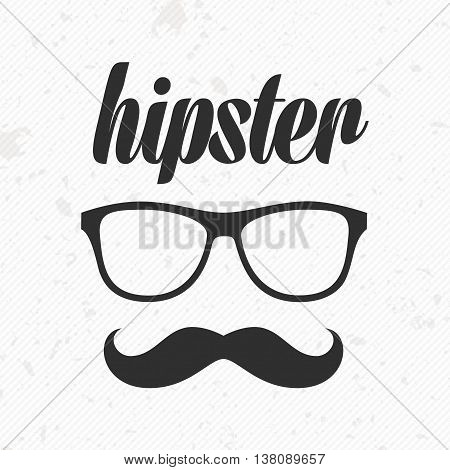 Mustache and glasses icon vector. Vector illustration moustaches with glasses and an inscription the hipster. Mustache and glasses icon picture. Mustache and glasses Icon illustration in flat style.