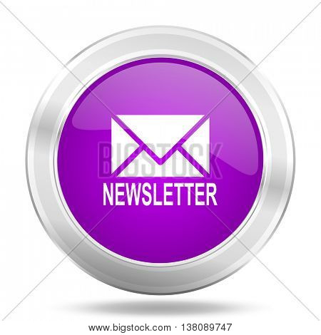 newsletter round glossy pink silver metallic icon, modern design web element