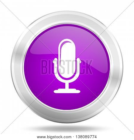 microphone round glossy pink silver metallic icon, modern design web element