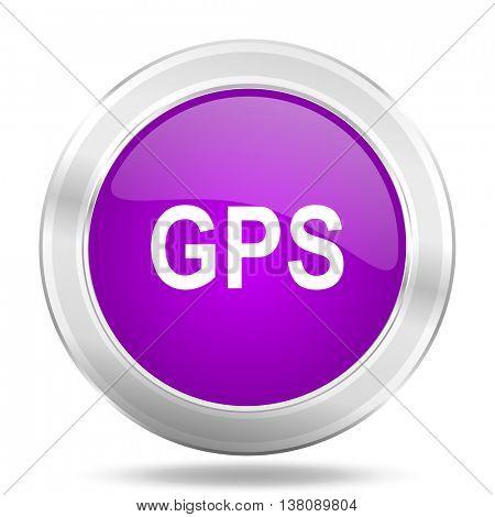 gps round glossy pink silver metallic icon, modern design web element