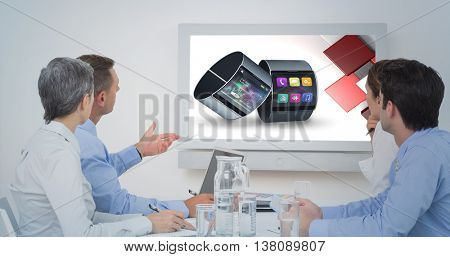Attentive business team during a conference against app account for smart watch