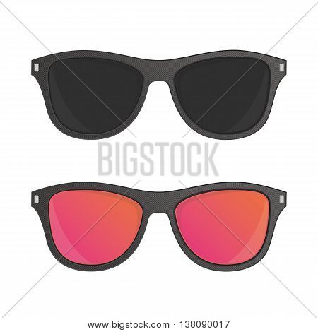 Sunglasses vector illustration in flat style. Set of different sun glasses for your designs. Black plastic hipster sunglasses icon. Classic wayfarer shape sun glasses with black color frame.