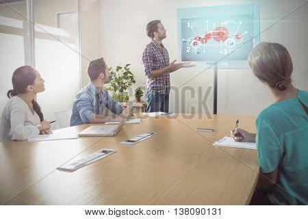 Car interface against creative businessman making a presentation