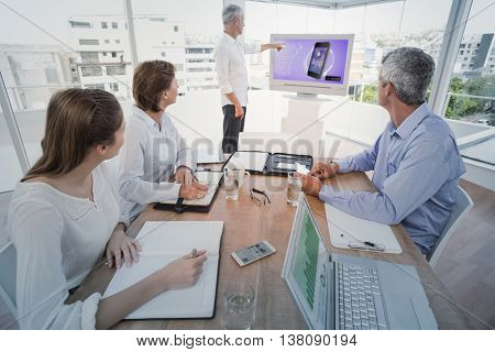 Ad for a new application against business people listening to colleagues presentation