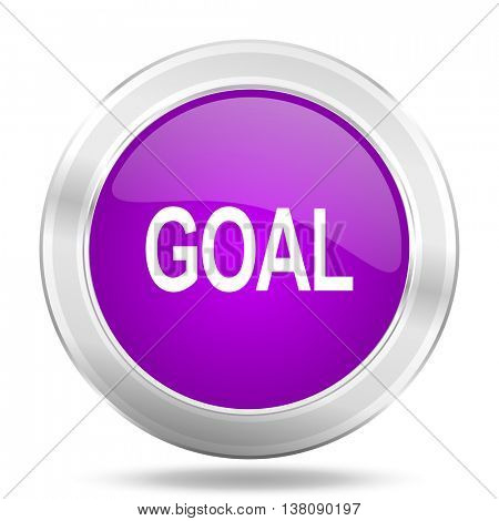 goal round glossy pink silver metallic icon, modern design web element