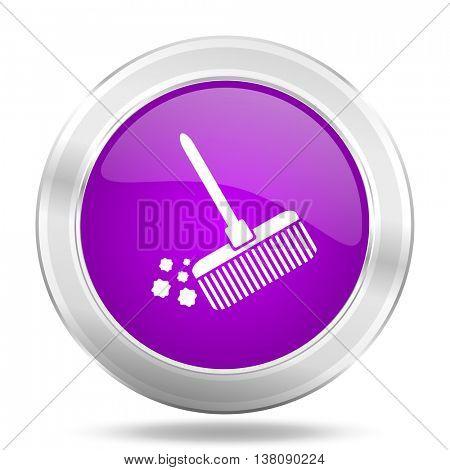 broom round glossy pink silver metallic icon, modern design web element