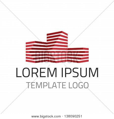 Vector logo template - architect construction idea. Concept for building or real estate company. Real estate building company icon. Universal template of a logo in flat style.