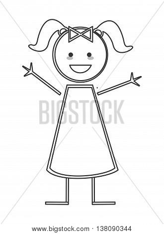 flat design happy girl with pigtails icon vector illustration stick figure