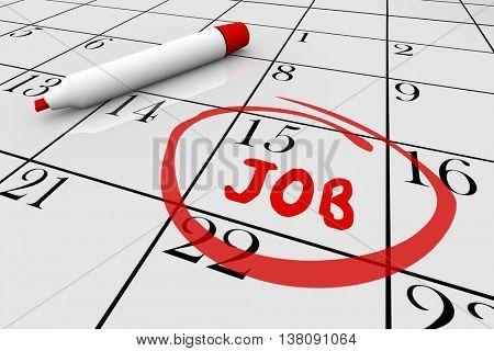 Start New Job Word Writing Calendar Day Date 3d Illustration