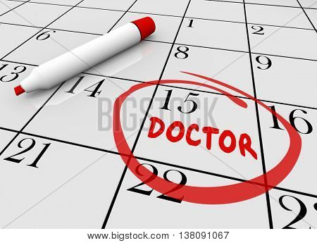 Doctor Appointment Health Care Check Up Physical Calendar 3d Illustration