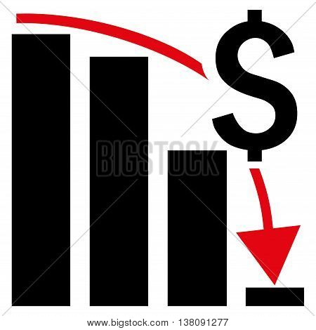 Financial Crisis vector icon. Style is bicolor flat symbol, intensive red and black colors, white background.