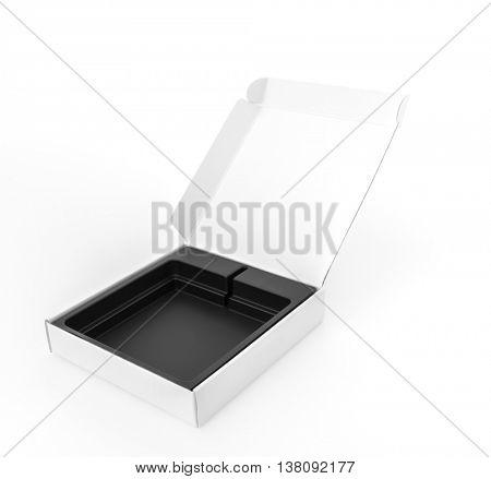 Blank white box mock up on white  background