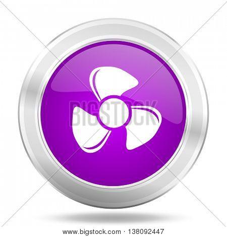 fan round glossy pink silver metallic icon, modern design web element