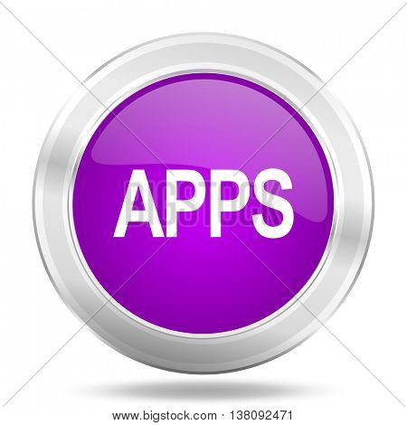 apps round glossy pink silver metallic icon, modern design web element