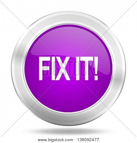 fix it round glossy pink silver metallic icon, modern design web element