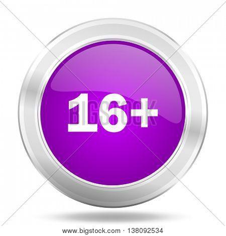adults round glossy pink silver metallic icon, modern design web element