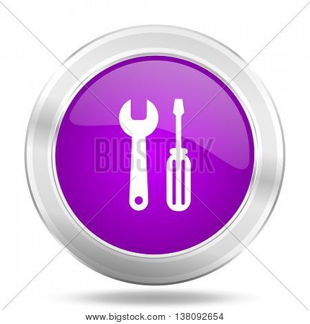 tool round glossy pink silver metallic icon, modern design web element