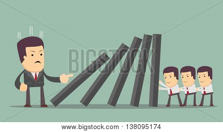 Concept of teamwork and corporate profit . people resist difficulties in work. domino effect . Stock vector illustration