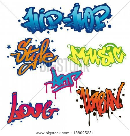 Urban collection of Graffiti art. Street style words: hip-hop, style, music, love, art. Wall painting. Vector Illustration