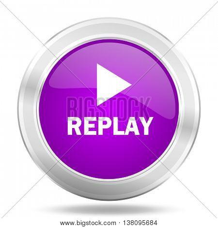 replay round glossy pink silver metallic icon, modern design web element