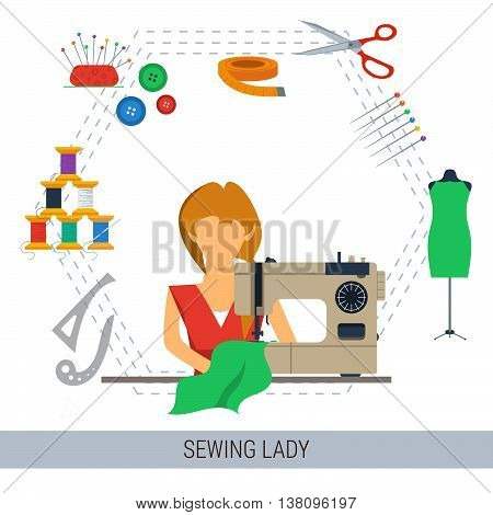Vector concept lady sew cloth on the machine and sewing equipment around in flat style