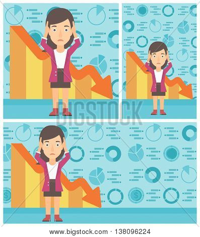 Female bankrupt clutching her head. Female bankrupt with a big question mark above her head. Concept of business bankruptcy. Vector flat design illustration. Square, horizontal, vertical layouts.