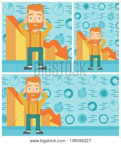 Hipster bankrupt with the beard clutching his head. Bankrupt with a big question mark above head. Concept of business bankruptcy. Vector flat design illustration. Square, horizontal, vertical layouts.
