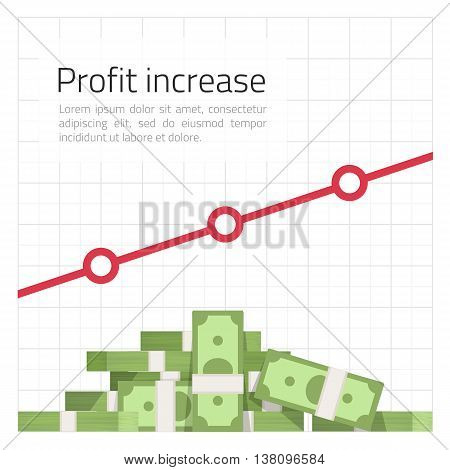 Vector template of infographics a heap of rolls of money against the schedule of growth. A universal template of infographics on business development, increase in sales, search of new clients.