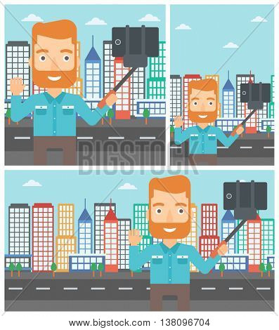 Hipster man with the beard making selfie with a selfie-stick. Man taking photo with cellphone and waving on a city background. Vector flat design illustration. Square, horizontal, vertical layouts.