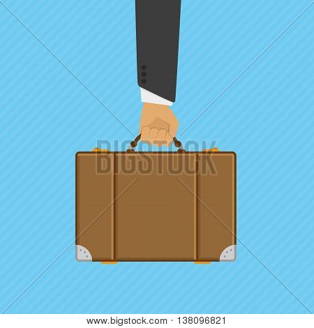 Hand holding modern suitcase. Hand of man holding briefcases. Colorful vector illustration in flat style. Universal concept of an illustration of travel.