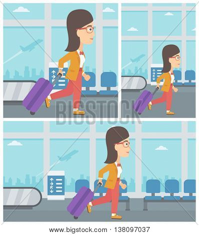 Young woman with a suitcase walking at the airport. Vector flat design illustration. Square, horizontal, vertical layouts.