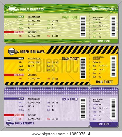 Train vintage travel tickets vector set. Ticket to train and set of illustration to speed train tickets