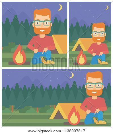 A hipster man with the beard kindling a campfire on the background of camping site with tent. Tourist relaxing near campfire. Vector flat design illustration. Square, horizontal, vertical layouts.