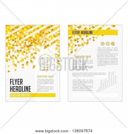 Business brochure, flyer and cover design layout template with yellow and orange geometric triangle shapes and colourful backgrounds. Vector illustration. Vector template for infographics.