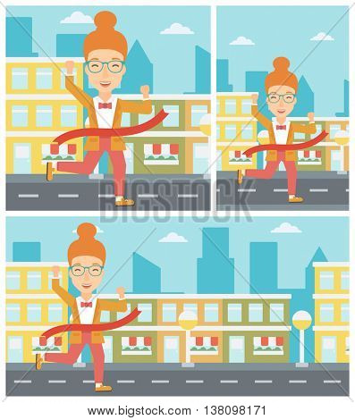 A successful business woman running at the finish line. Business woman crossing finish line. Concept of business success. Vector flat design illustration. Square, horizontal, vertical layouts.