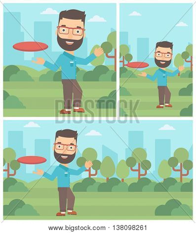 Hipster man with the beard playing flying disc in the park. Man throwing a flying disc. Sportsman catching flying disc outdoors. Vector flat design illustration. Square, horizontal, vertical layouts.