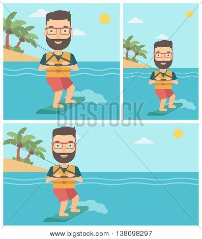 A hipster sportsman wakeboarding on the sea. Wakeboarder making tricks. Man studying wakeboarding. Young man riding wakeboard. Vector flat design illustration. Square, horizontal, vertical layouts.