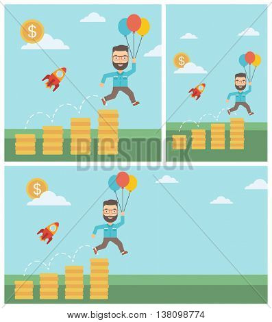 Businessman with balloons flying over gold coins and business start up rocket flying nearby. Business start up and growth concept. Vector flat design illustration. Square, horizontal, vertical layouts