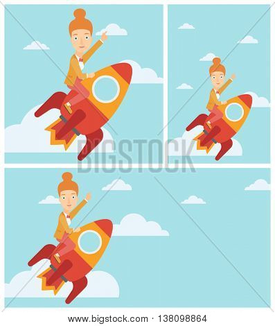 Young business woman flying on the business start up rocket and pointing forefinger up. Successful business start up concept. Vector flat design illustration. Square, horizontal, vertical layouts.