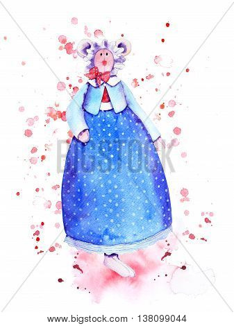 Goody mouse watercolor doll in  attire. Navy polka dot petticoat, blue jacket with white neckband, red bowknot and bonnet