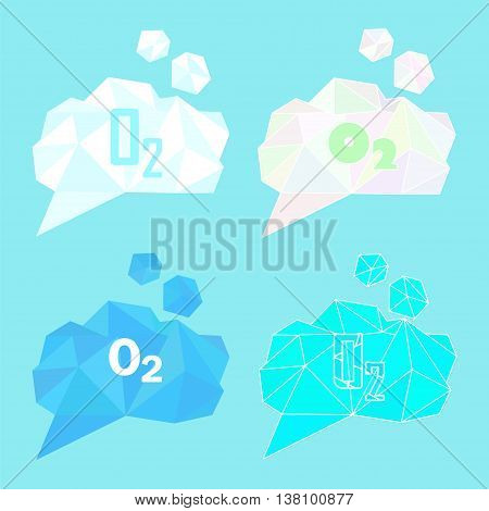 O2 oxygen gas vector illustration. Low poly polygonal style concept for fresh air purity breathing