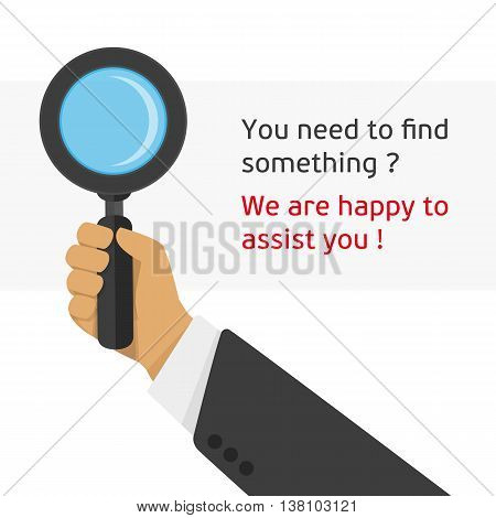 Vector illustration of a magnifying glass in the hand of man. Modern illustration hand holding magnifying glass. Concept search infographic illustration in a flat style.