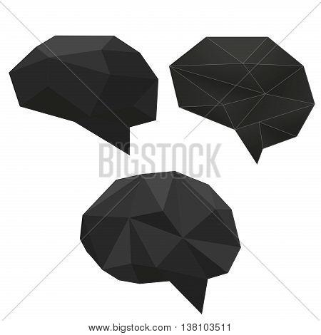 Abstract creative low polygonal black diamond crystal brain set
