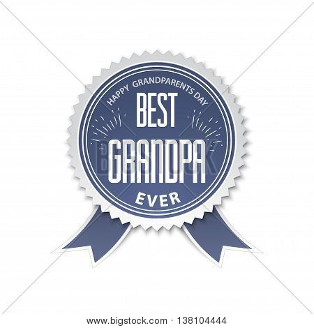 The best grandpa - badge with ribbon. vector illustration Happy grandparents day.