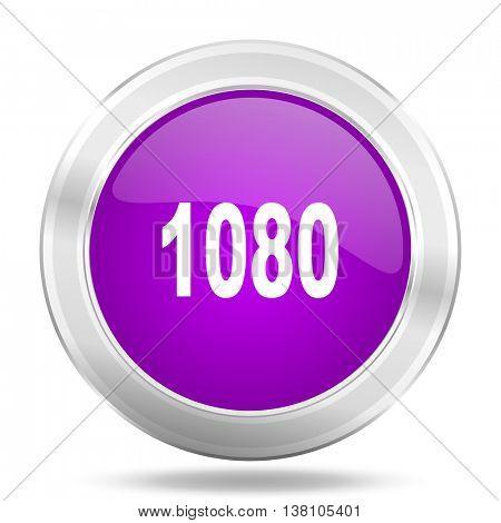 1080 round glossy pink silver metallic icon, modern design web element