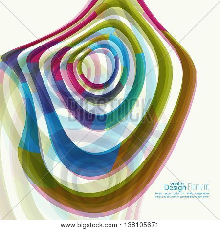 Abstract background with colored Hypnosis shape. Deformed geometry torsion texture. Asymmetric waves in motion. Distortion effect. Colorful miscellaneous vector  backdrop. Optical illusion.
