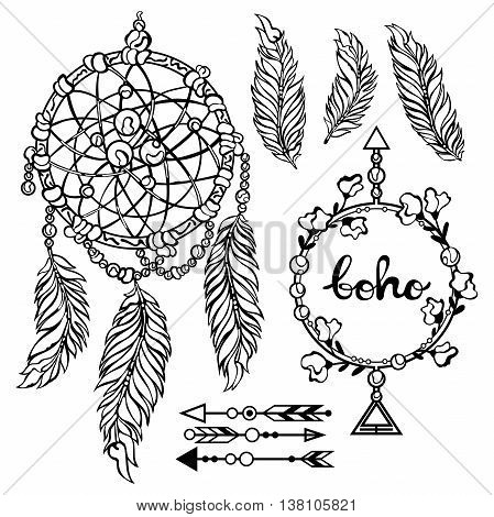 Boho set. Dreamcatcher. Feathers. Frame. Arrows. Decorative elements. Isolated vector objects on white background. Black and white drawing.