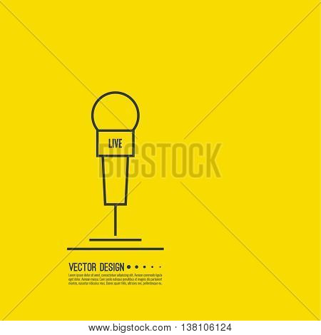 Journalism concept. Live news template with microphone. Symbol breaking news on TV and radio. Journalist, interview, reporter, press, interviewer, mass media, paparazzi mic Vector poster